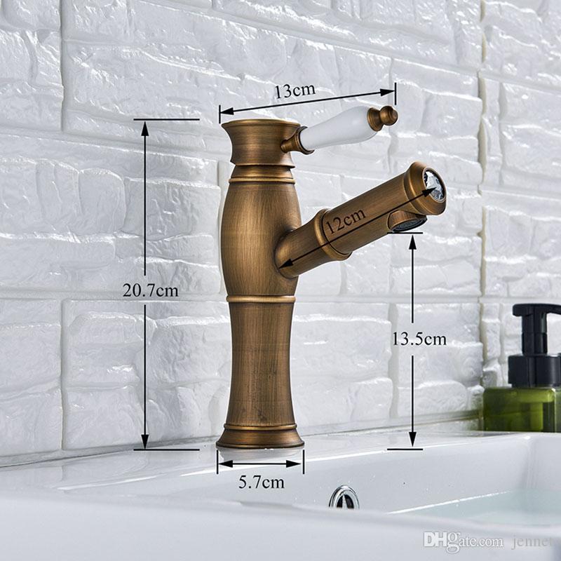 Античная латунь Выдвижной смеситель для раковины на палубе Смеситель для ванной комнаты Кран с одной ручкой Смеситель для ванной комнаты для холодной воды Краны горячей воды