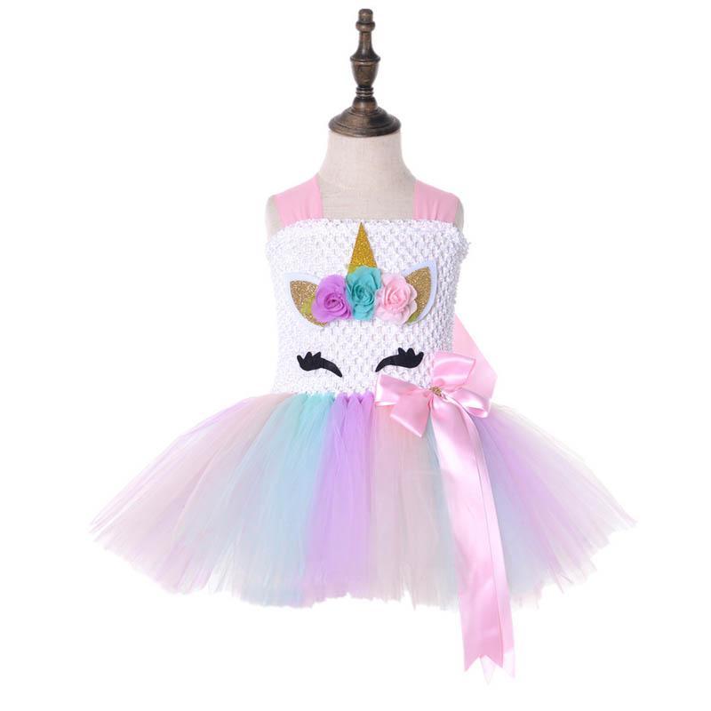 Compre 2019 Nuevo Unicornio Vestidos Para Niñas Cosplay Vestidos De Princesa Niña 1er Vestido De Cumpleaños Niñas Ropa De Encaje Niños Vestidos Tutu