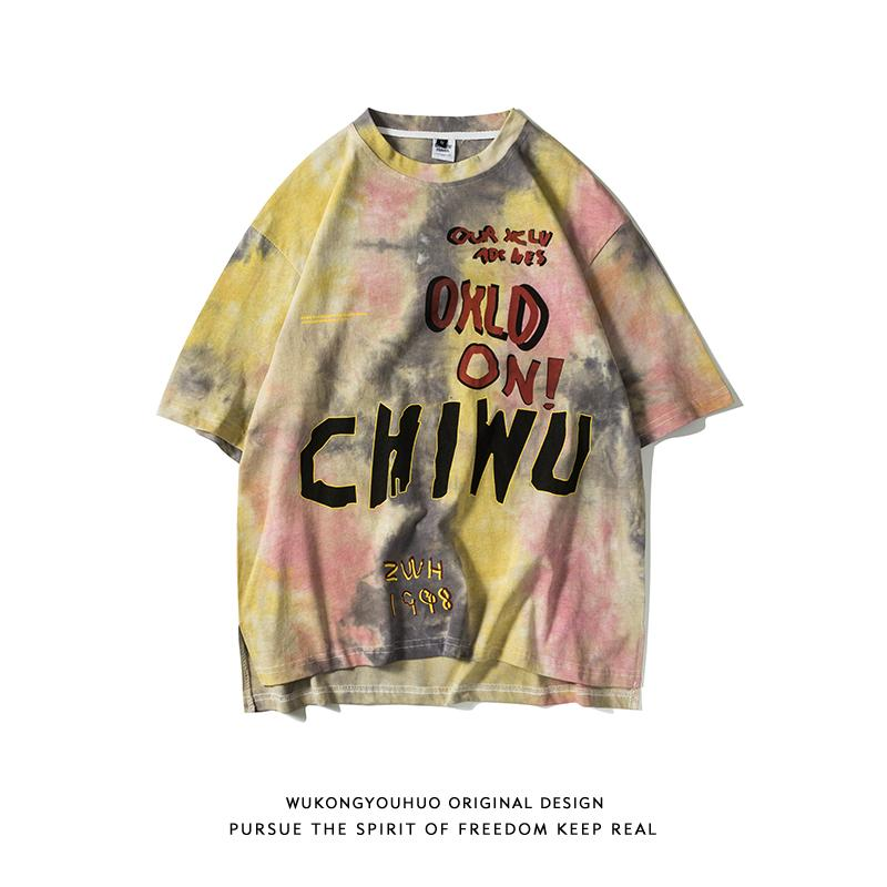 Trendy Wukong Stock Street Fashion Brand Tie-Dyed Short-Sleeved T-shirt Mens Loose Hip-hop Letter Graffiti BF Couples Casual Short Tee