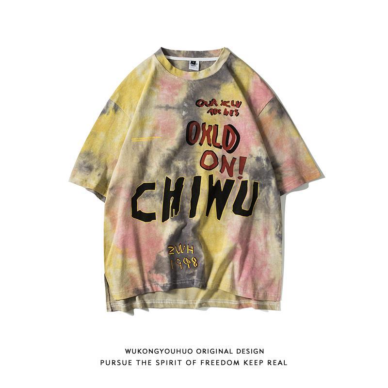 Trendy Wukong Stok Sokak Moda Marka Tie-Boyalı Short Sleeve tişört Erkek Gevşek Hip-hop Harf Graffiti BF Çiftler Casual Kısa Tee