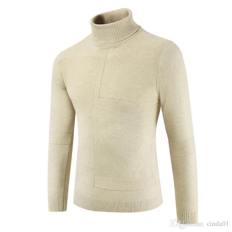 Turtle Mens camisola de malha cor sólida Pescoço Casual Inverno Sweater masculino mangas compridas de lã shirt Atutumn Mens Pullover