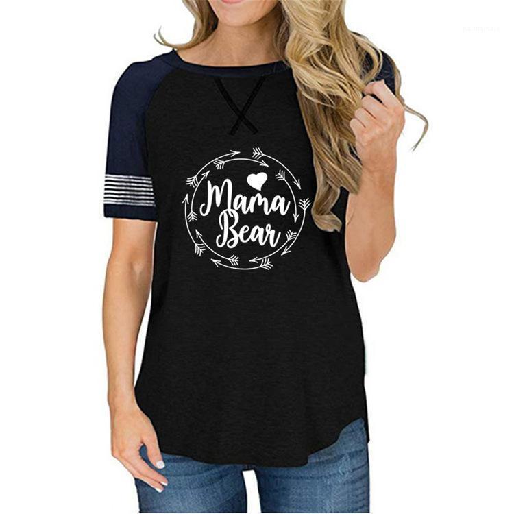 Sommer frauen designer t shirts Mama Bär drucken kurze särtliche Tops Rundhalsausschnitt tätige Tees weibliche Kleidung