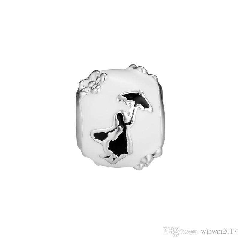 New autêntica jóia de prata esterlina 925 Bead encanto Mary Poppins Silhueta Fit Marca Charm Bracelet Bangle DIY Fazendo Presente da menina