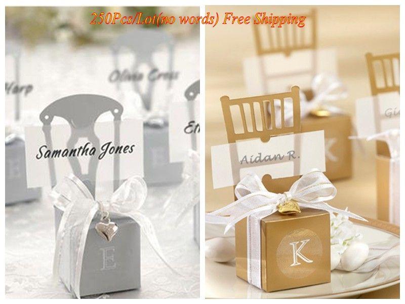 250pcs / lot d'argent et de boîtes de faveur chaise de mariage d'or avec des cartes de visite et des rubans pour cadeaux de bonbons boîte d'événement et cotillons