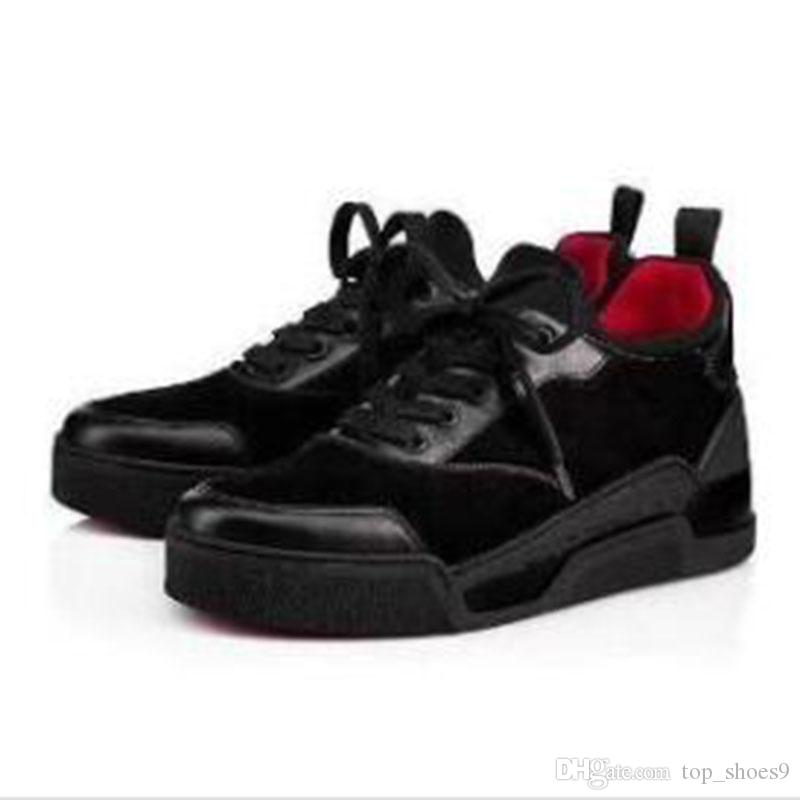 Красный Дно Мужчины кроссовки Орельен плоские Lovers из натуральной кожи высокого Top Casual Flats Red Bottom Shoes Размер: 35-46 ГБ2