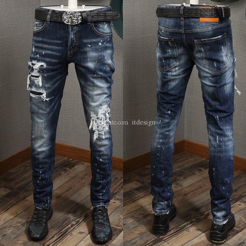 Denim Pants For Man Plus Size 38 Paint Spot Accent Damaged Jeans Cool Guy Fit Whiskering Wash