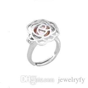 {Cage Ring} Can Open And Hold Pearl Gem Beads Cage Ring Fitting, 18kgp Camellia Flower Ring Adjustable Size
