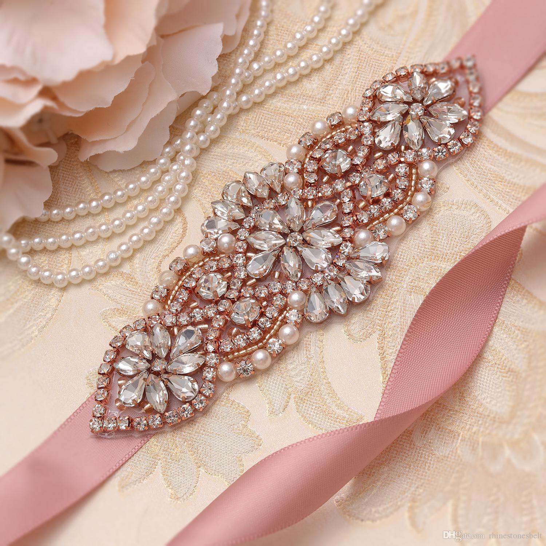 MissRDress Dazzling Bridal Sash Belt Rose Gold Crystal Rhinestones Wedding Sash Belt For Bridal Party Evening Dresses YS852