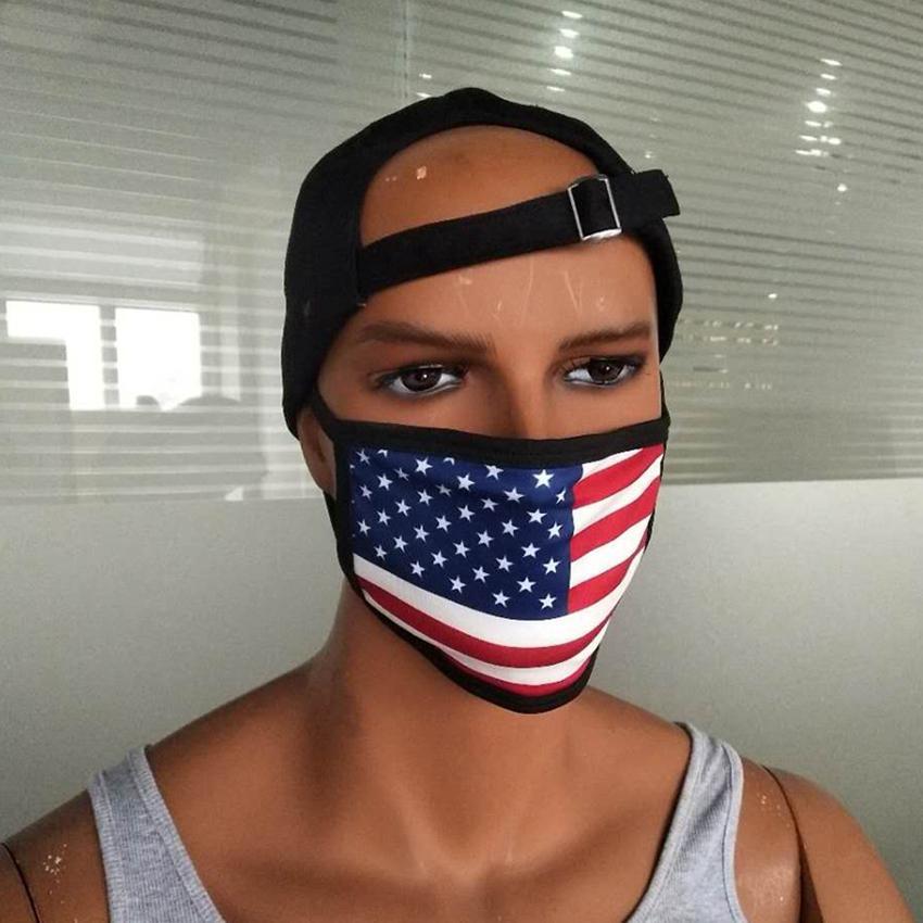 Маски для взрослых Unisex Хлопок лица моющегося многоразовые дышащей маски Американского флаг Printed пыл маской ZZA2145 100Pcs
