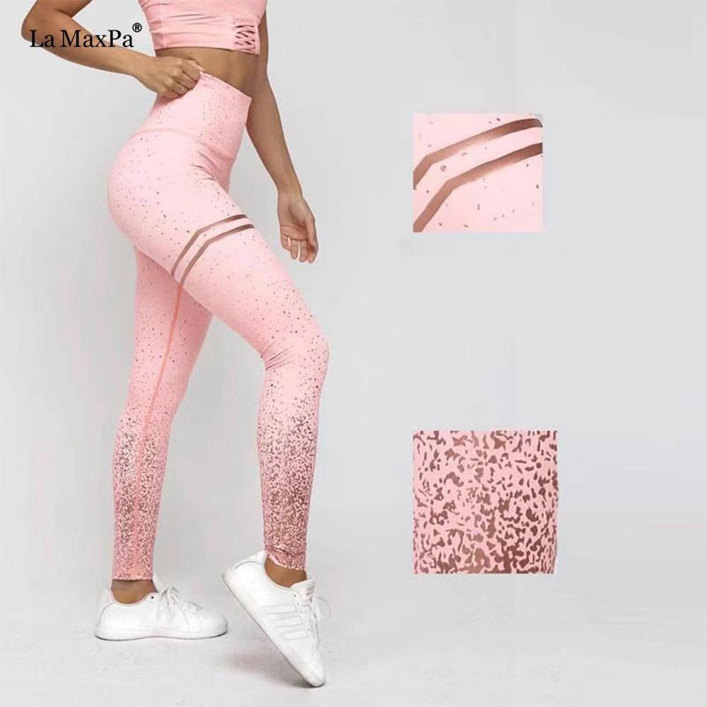 Women Leggings High Waist Push Up Slim Pink Gym Fitness Elastic Waist Stretch Woman Leggins Workout Plus Size High Pants