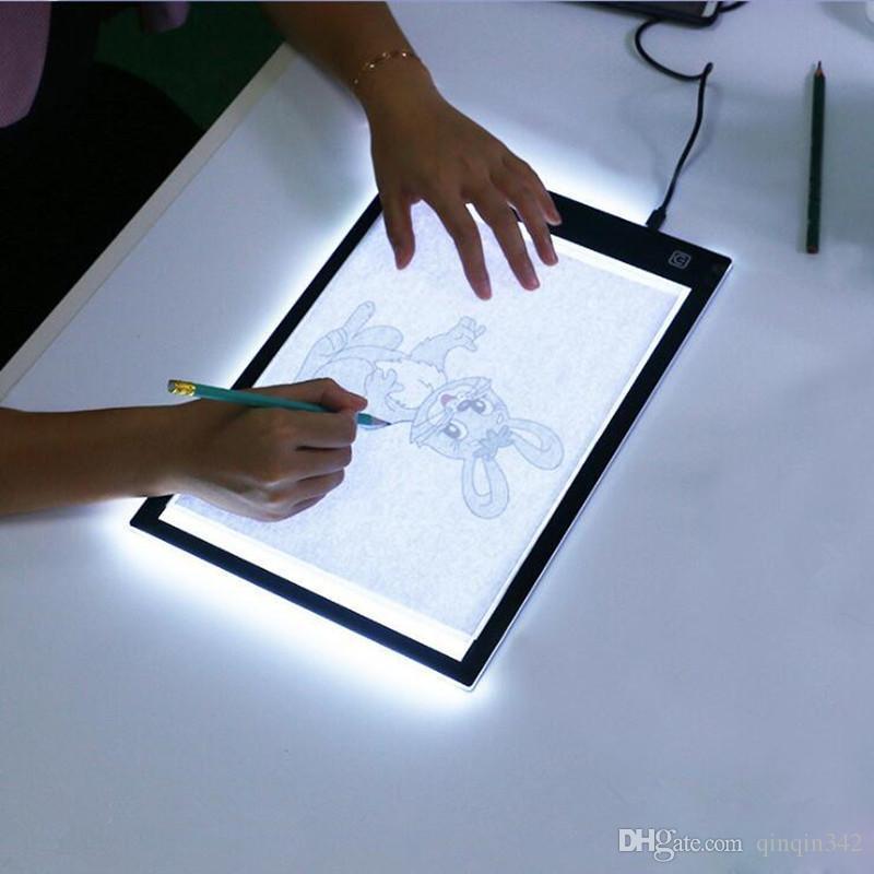 DHL regulable llevó gráfico de la tableta de escritura Pintura Dibujo regalo Caja de luz Tablero de trazado de copia Pad digital de la tableta Artesanía A4 Copia mesa LED
