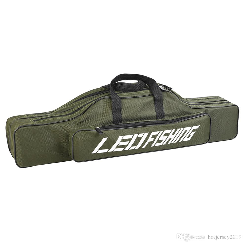 LEO 80cm Double-layer Fishing Rod Bag Portable Fishing Reel Rod Lure Carrier Storage Case Multifunction Canvas Bag For Pesca #85248