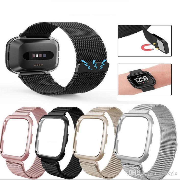 Mit Metallbändern kompatible Uhr mit Rahmen, Edelstahl-Milanaise-Armband mit atmungsaktivem Ersatzmagnetverschluss und Gehäuse