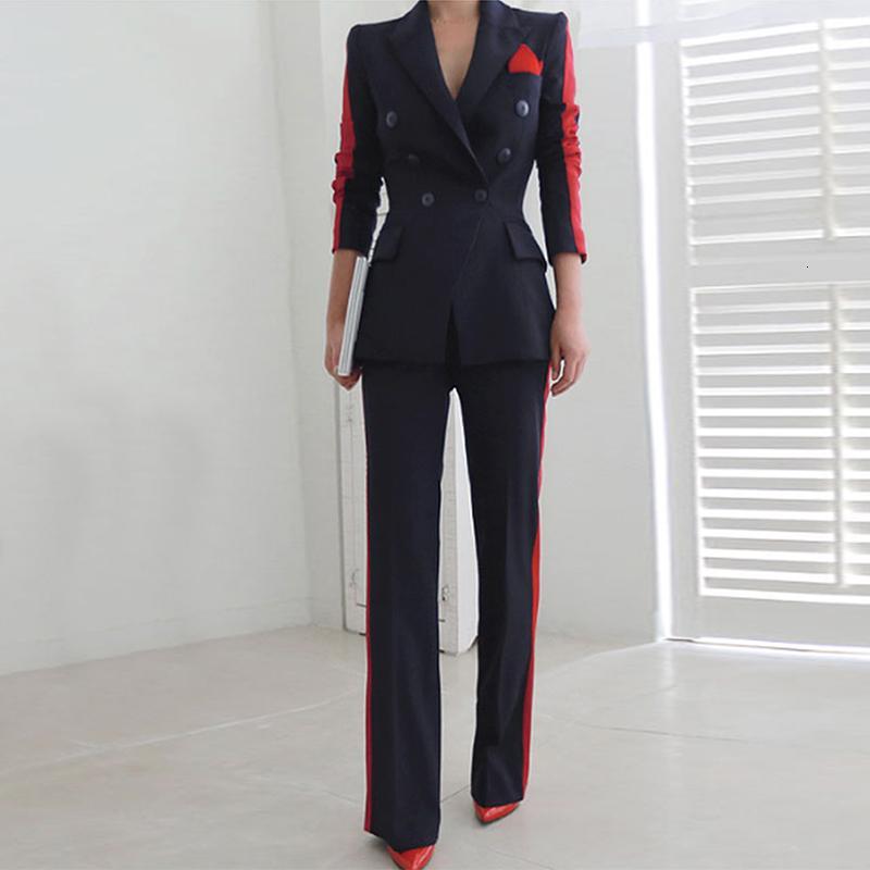 Nouvelle arrivée femmes haute qualité tempérament mode costume sauvage mince pantalon confortable épaisse tendance chaude bureau en plein air costumes T190913