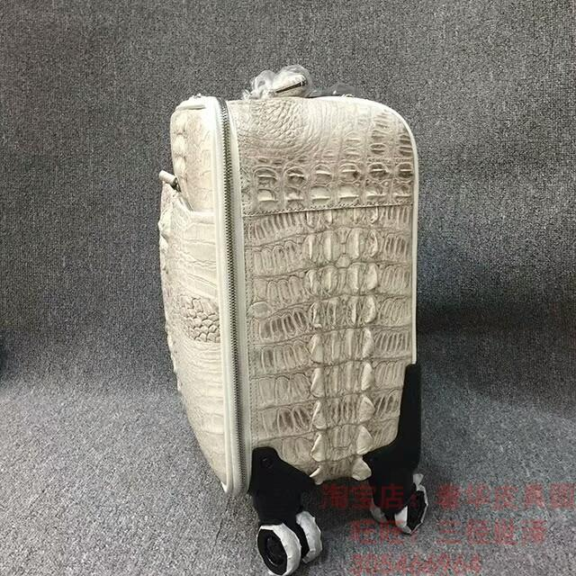 Trolley Wheels Himalayan White Crocodile Leather Travel Box 15-Inch Password Suitcase Mens And Womens Board Chassis