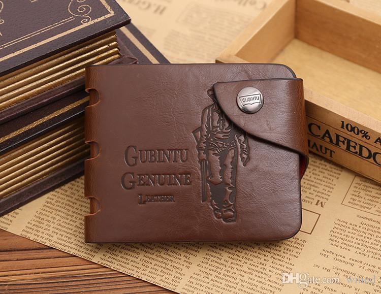 Casual Luxury Herrenbrieftasche aus Leder Solide Schlanke Börsen Herren PU-Leder Bifold Short Kreditkartenhalter Geldbörsen Geschäft Purse männlich