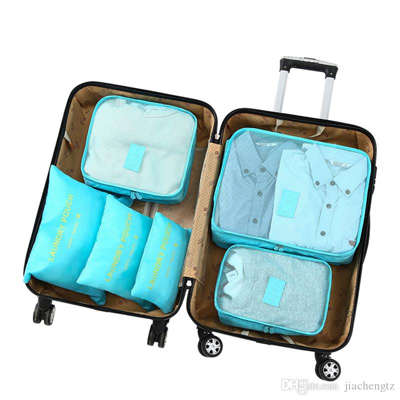 Viajar bolsa impermeable de la cremallera de malla Conjunto para la ropa de la bolsa de equipaje organizador del envase de la ropa interior del zapato Organizador 6pcs / set