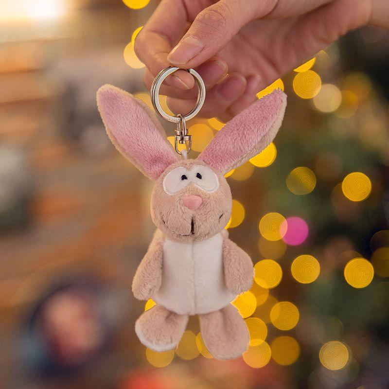Cute Cartoon Animal Plush Toy Keychain Backpack Keychain Squid Burning Cat Pink Hippo Donkey Dog Bunny Bear Lion Gift To Friend