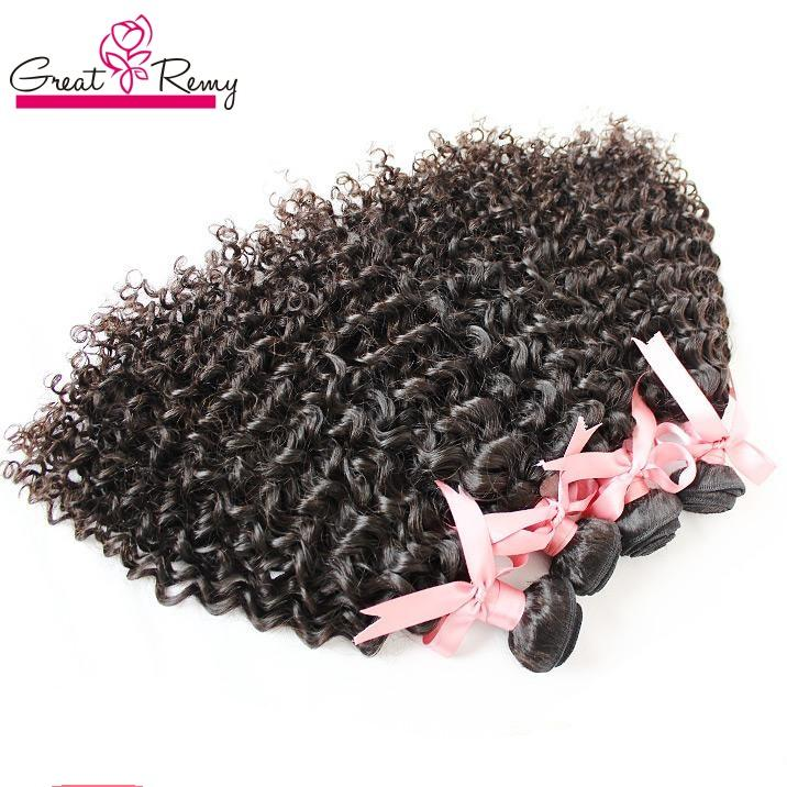 """Greatremy Hair Extensions 100% Indian Human Hair 8""""-30"""" Unprocessed Virgin Hair Weft Weave Curly Natural Color Dyeable 3pcs/lot"""