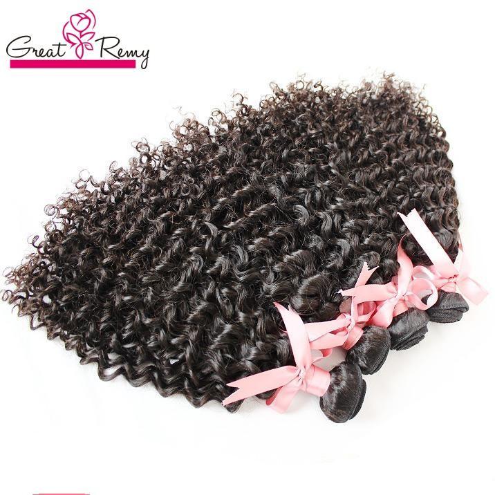 "Greatremy Hair Extensions 100 % 인도 인간의 머리카락 8 ""-30""처리되지 않은 처녀 머리 위크짜리 곱슬 자연 색채 염색 가능 3pcs / lot"