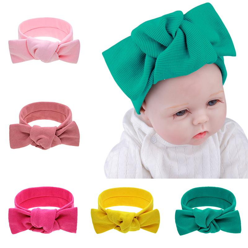 Cute Baby Headband Solid Color Bow-knots Baby Girls Accessories Knitted Elastic Hair Bands Stretch Turban Headbands For Girls