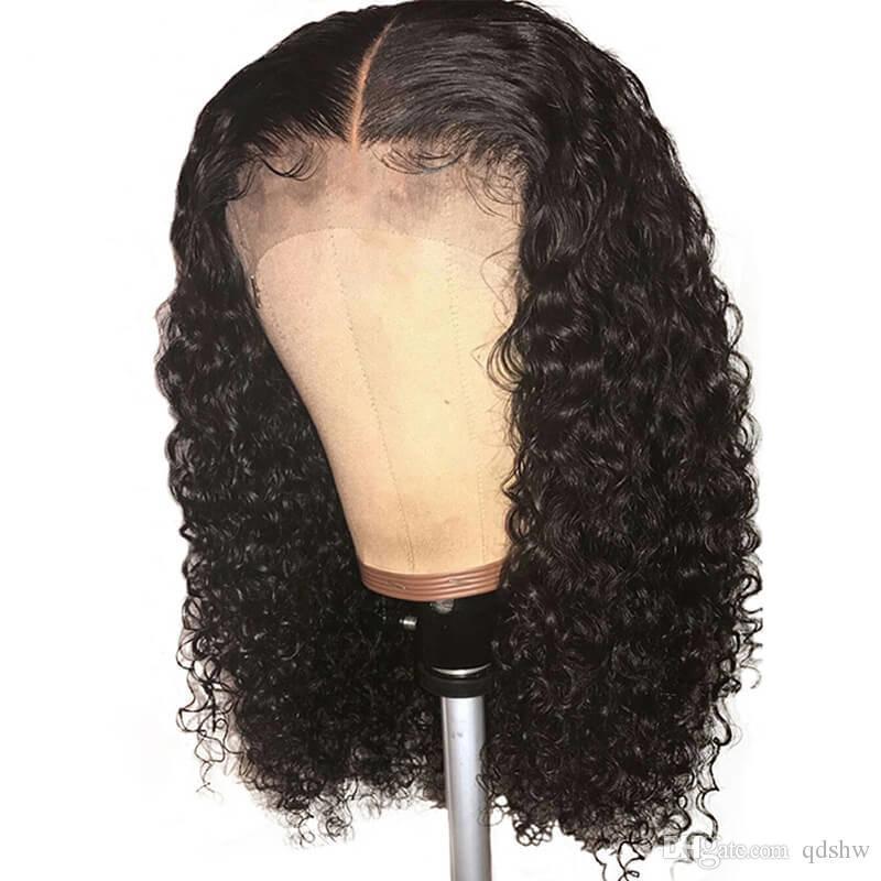 Peluca rizada humana del cordón lleno barato para afroamericana Mujeres Remy Preplucked brasileña Rizado lacefront peluca con el pelo blanqueado nudos bebé