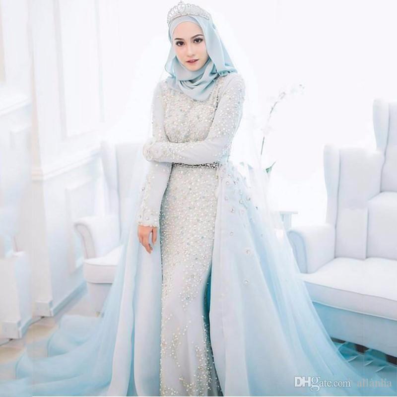 2019 New Designer Musulmano Dubai Arabo Sirena Abiti da sera Maniche lunghe Perline Abiti da ballo Abiti Abiti per occasioni speciali Abiti da sera