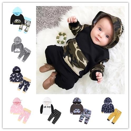 Горячие продажи высокого качества Ins ребенка 2018 весной и осенью новый приход хлопка новорожденный одежда животное печати капюшонами 2pcs наборы CJ191210