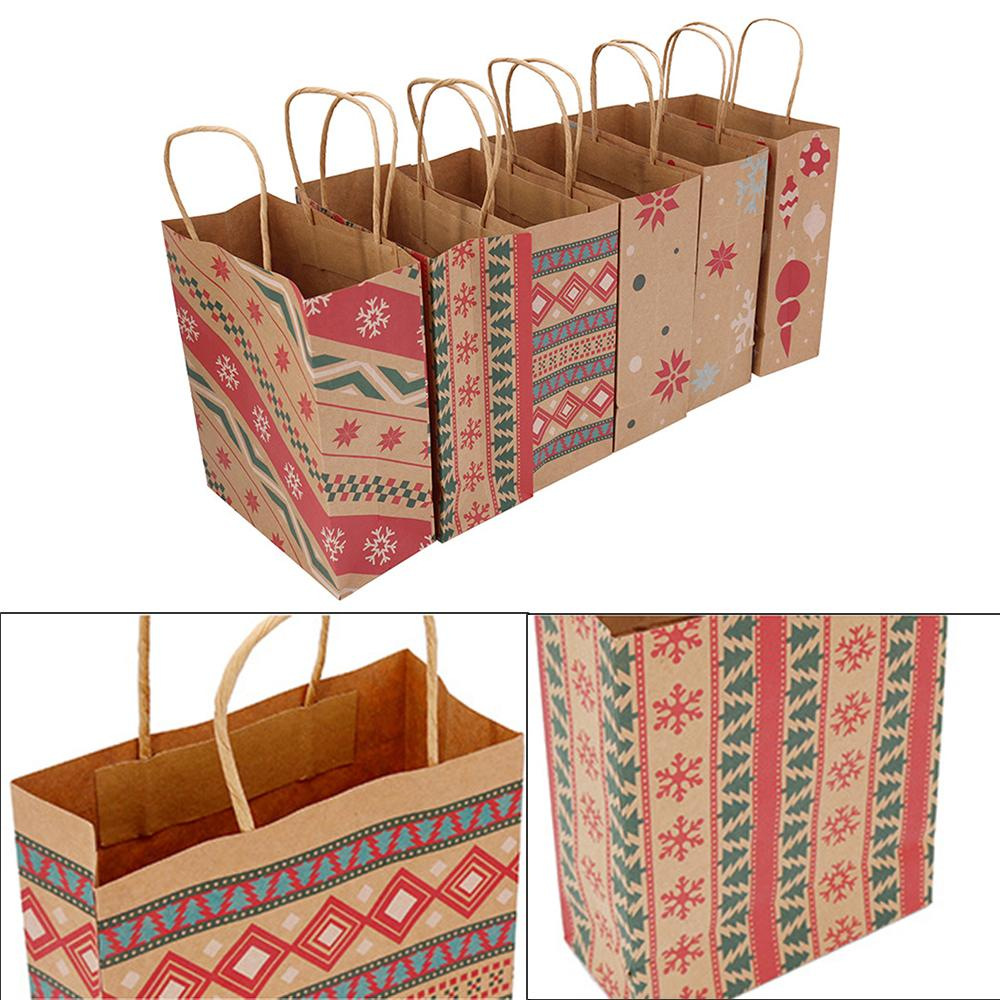 6/12 Pcs Christmas Gift Bags Kraft Paper Bag Kids Party Favors Box Christmas Decorations candy gift bags
