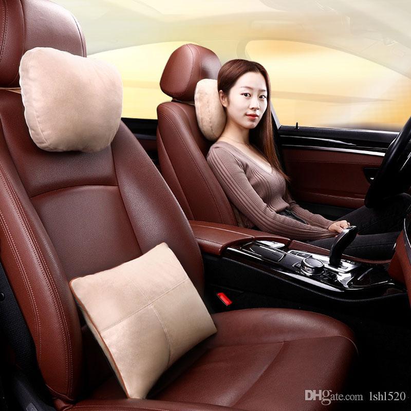 2 Adet Evrensel Araba Kafalık S Sınıf Ultra Yumuşak Yastık Mercedes Benz Maybach Koruyucu Bel Araba Koltuğu Lomber Yastıklar Lüks Aksesuarları