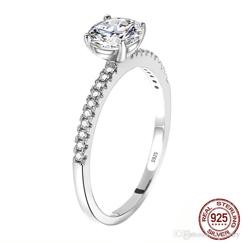 2020 New Luxury halo 100% 925 Sterling Silver Engagement Ring for Women Lady Anniversary Gift Fine Jewelry Wholesale XR368