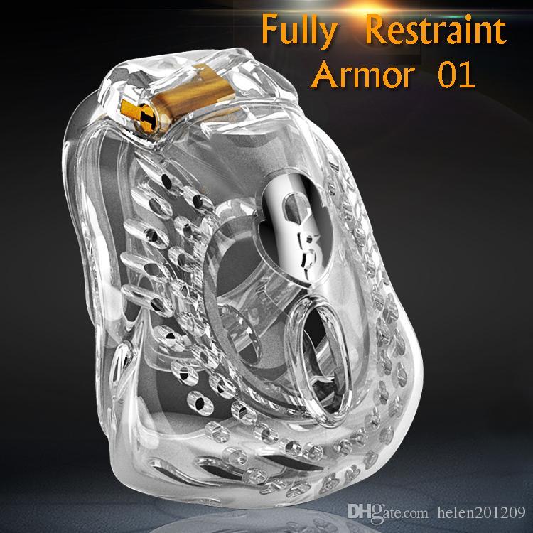 2020 nuovo disegno maschio completamente Restraint Bowl Chastity sentimento dispositivo comodo 24h Luce Indossare pene Cage anello del pene Sissy Sex Toys ARMOR 01