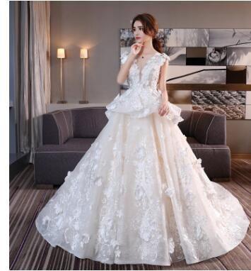 Wedding Dress Sale Sweet 2019 Summer Style Tail Bridesmaid Dresses Korean Style Tulle Dress for Wedding Bridal Dress Vintage