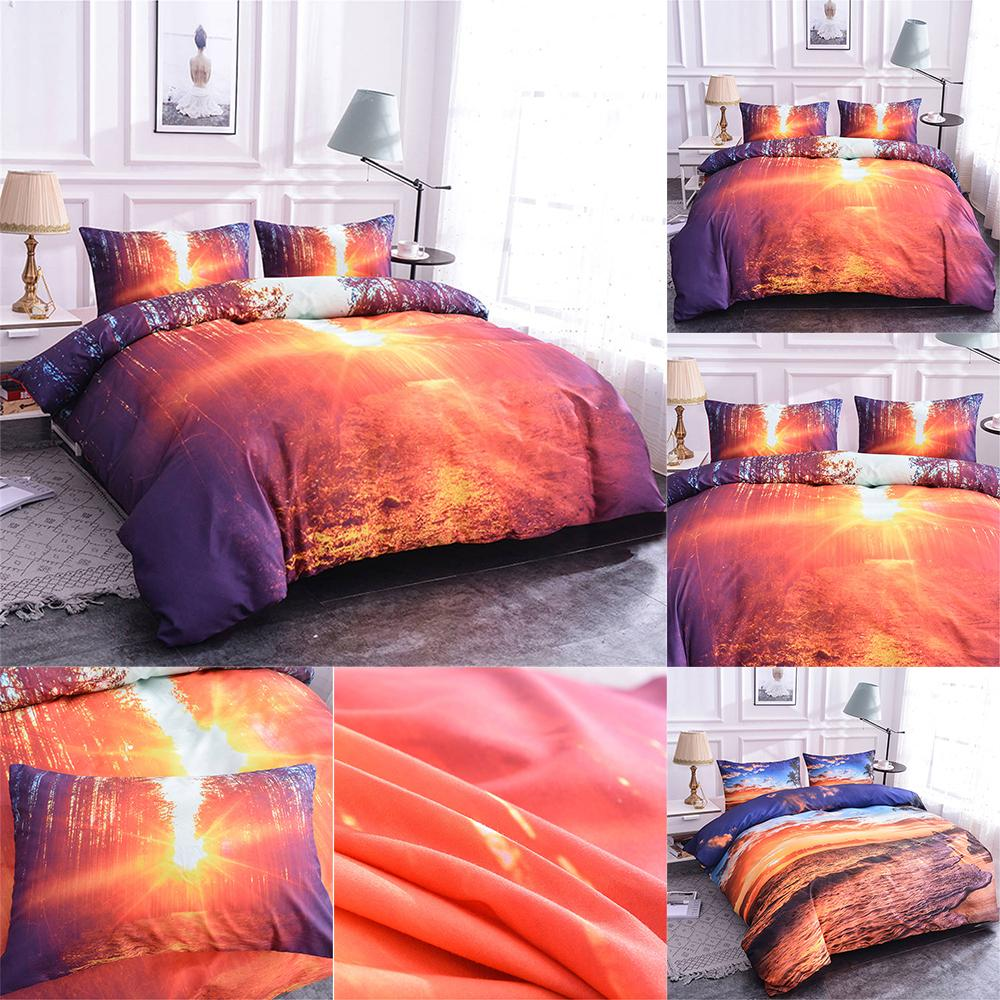 Homesky Scenery Bedding Set 3D Sunrise Print Duvet Cover set Beach scenery Comforter Bedding sets with pillowcase King Size