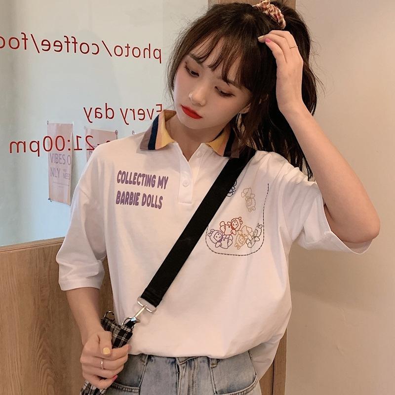 Franceses roupas de verão camisa pólo nicho par roupas de classe 2020 sensação de estudantes de design de verão de manga curta T-shirt roupas femininas