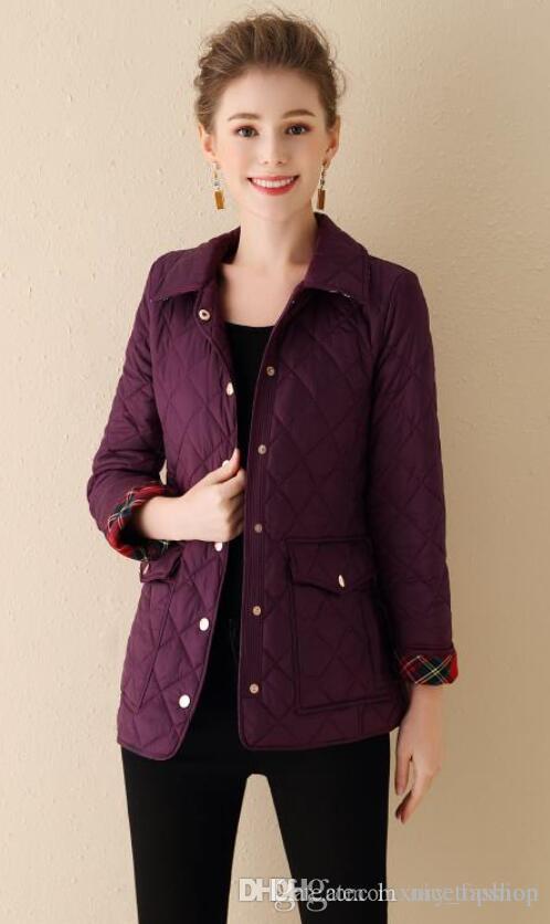 NEW 2019! Frauen Art und Weise England kurze Baumwolle gepolsterten Mantel / Qualitätsmarkendesign lässig Wintermantel für Frauen Größe S-XXL B896937F300