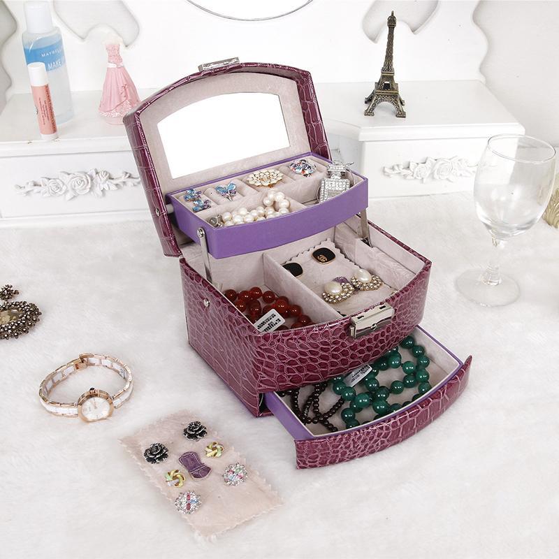 SONG en juillet Bijoux Boîte de rangement Mode double couche PU bijoux en cuir Boucle d'oreille affichage Organisateur Boîte meilleur cadeau pour les amoureux T190929 ami