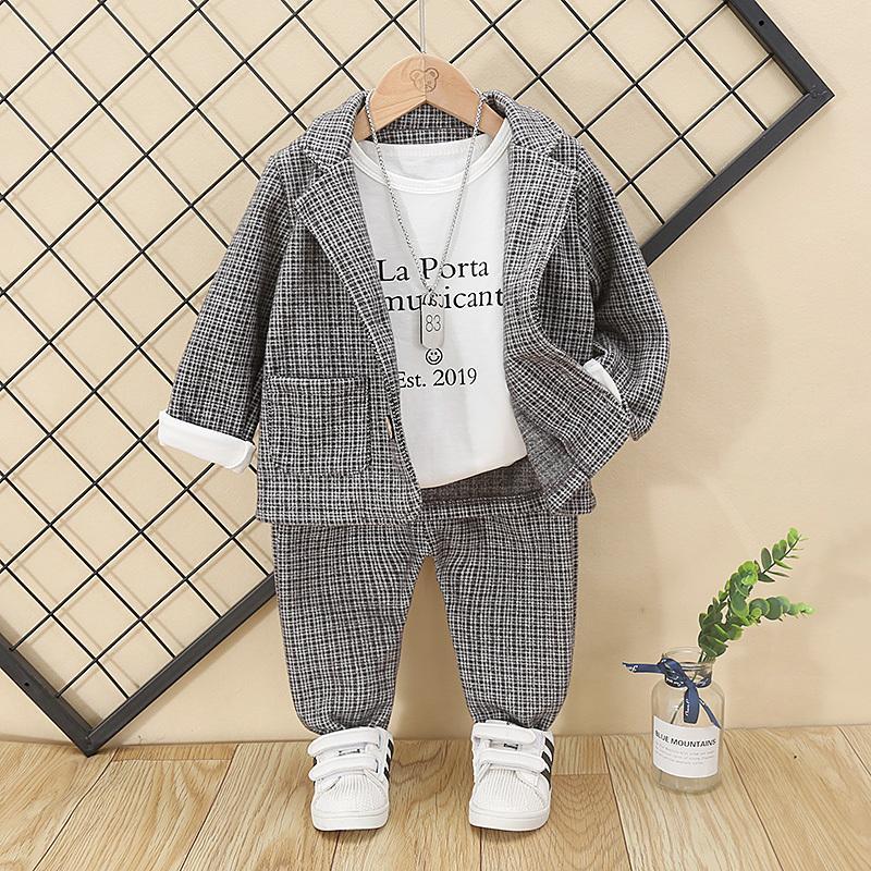 Мальчики Одежда Детские Полосатый куртка + брюки Эластичные 2 PCS Дети Костюм с длинными рукавами малышей Одежда для младенцев подарок на день рождения 1 Возраст CY200516