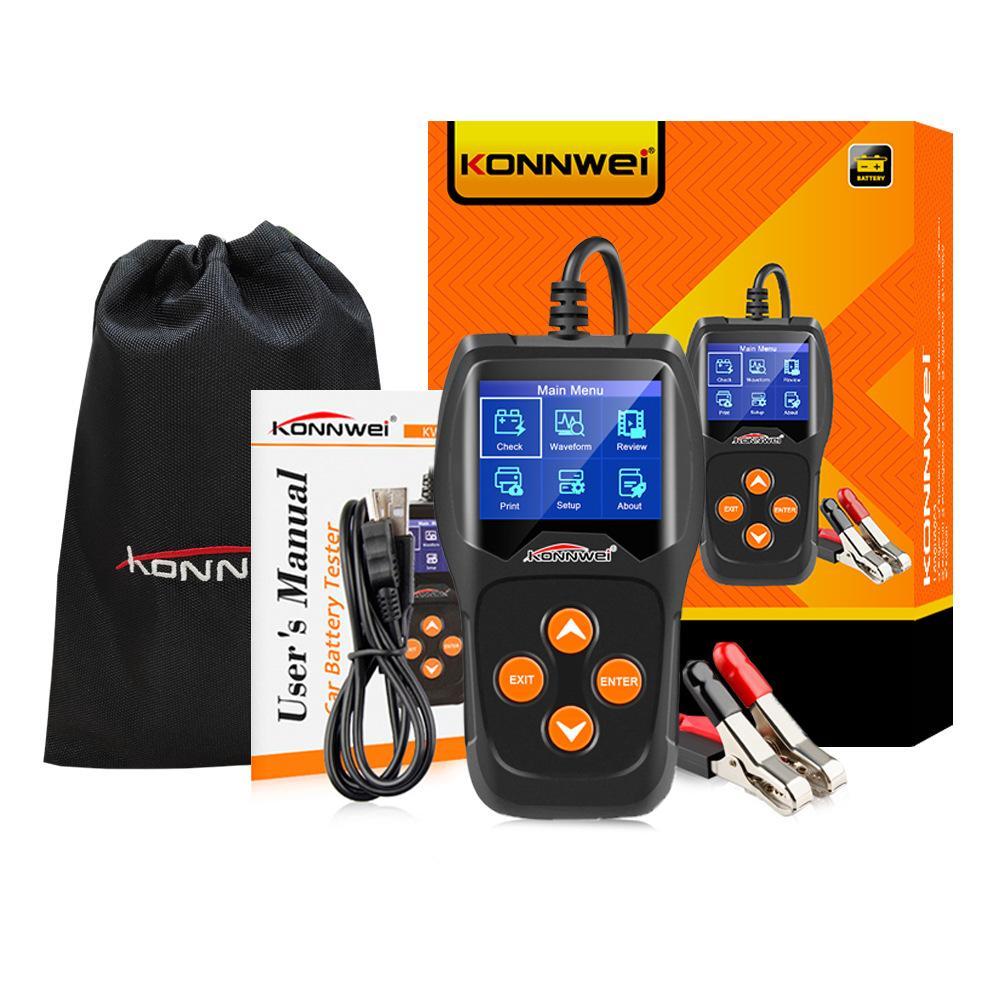 KONNWEI KW600 12V testeur de batterie de voiture 100 à 2000CCA 12 Volt outils batterie pour la voiture rapide Cranking de charge de diagnostic