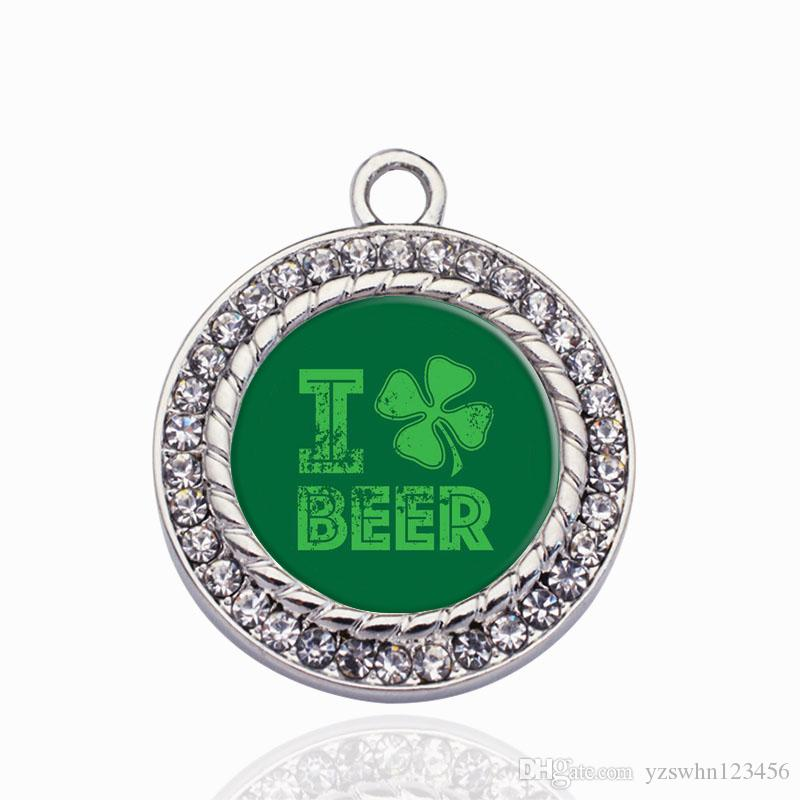 Amo encantos del encanto del círculo de la cerveza para el collar de DIY / la pulsera / el colgante flotante de la gargantilla