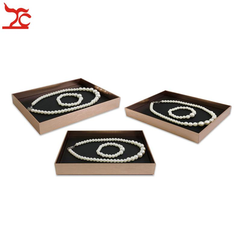 New Promotion Stainless Steel Jewelry Display Counter Showcase Black Base Necklace Ring Earring Storage Cosmetic Organizer Tray Case