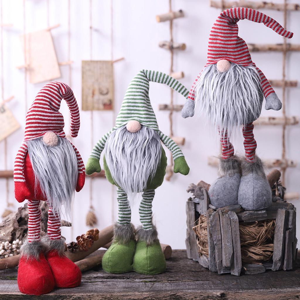 40 # 2019 Noël nouvelle année bricolage de Noël à rayures sans visage posture debout poupée poupée articles de Noël Père Noël décoration de poupée