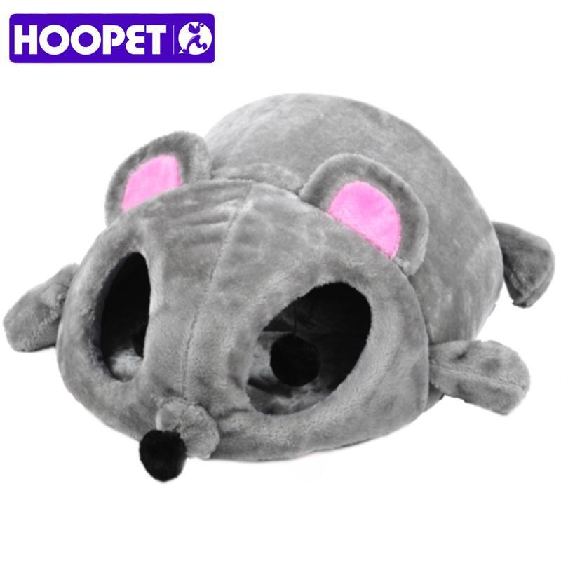 HOOPET 고양이 침대 회색 마우스 모양 작은 고양이 개 동굴 침대 이동식 쿠션, 방수 바닥 집 선물 애완 동물 섬유