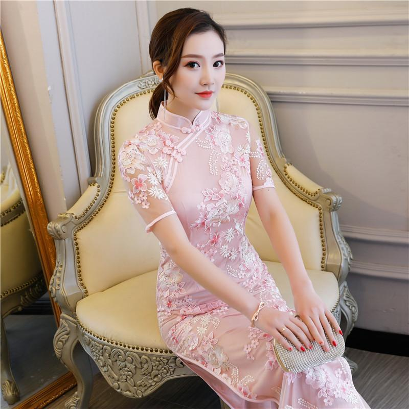 Shanghai Story Floral Embroidery Qipao Chinese Traditional Dress Cheongsam