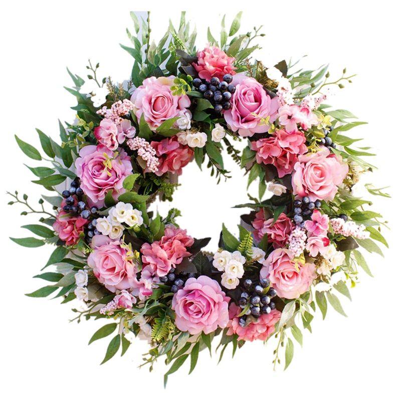 55см Роза Венок, Большой Сельский Дом Декоративный искусственный цветок Венок, Поддельный цветочные венки для передней двери окна Свадьба O