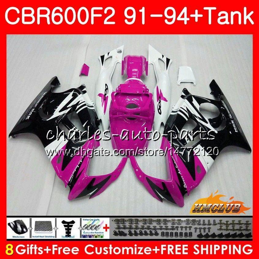 Kit + serbatoio per HONDA CBR600RR CBR 600 FS 1991 1992 1993 1994 40NO.309 CBR600F2 CBR 600F2 CBR600FS nero rosa CBR600 F2 91 92 93 94 carenature