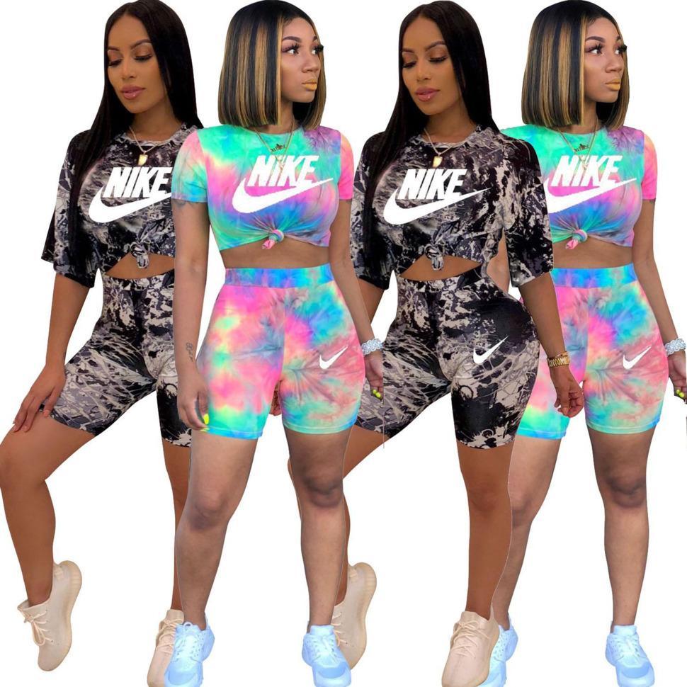 2 COR Mulheres Two Piece Shorts Conjuntos Designer Tracksuits Conjuntos femininos Tie-Dyed Imprimir Cortar T-shirt Top Suit Streetwear Sportswear DHL