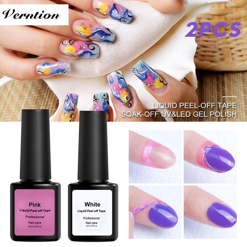 Verntion Natural Peel Off Liquid Nail Art White Pink Tape Latex Finger Skin Protected Glue Base Coat Care Nail Art Cuticle Cream