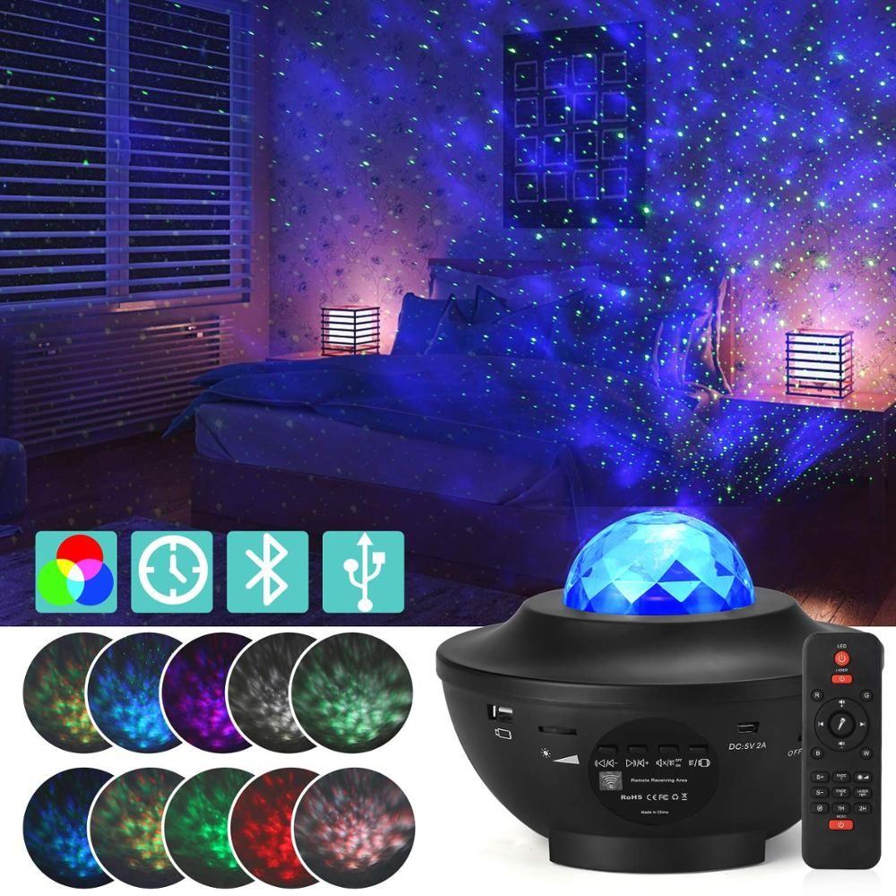 다채로운 프로젝터 별이 빛나는 하늘 빛 갤럭시 블루투스 USB 음성 제어 음악 플레이어 LED 야간 빛 낭만적 인 투사 램프