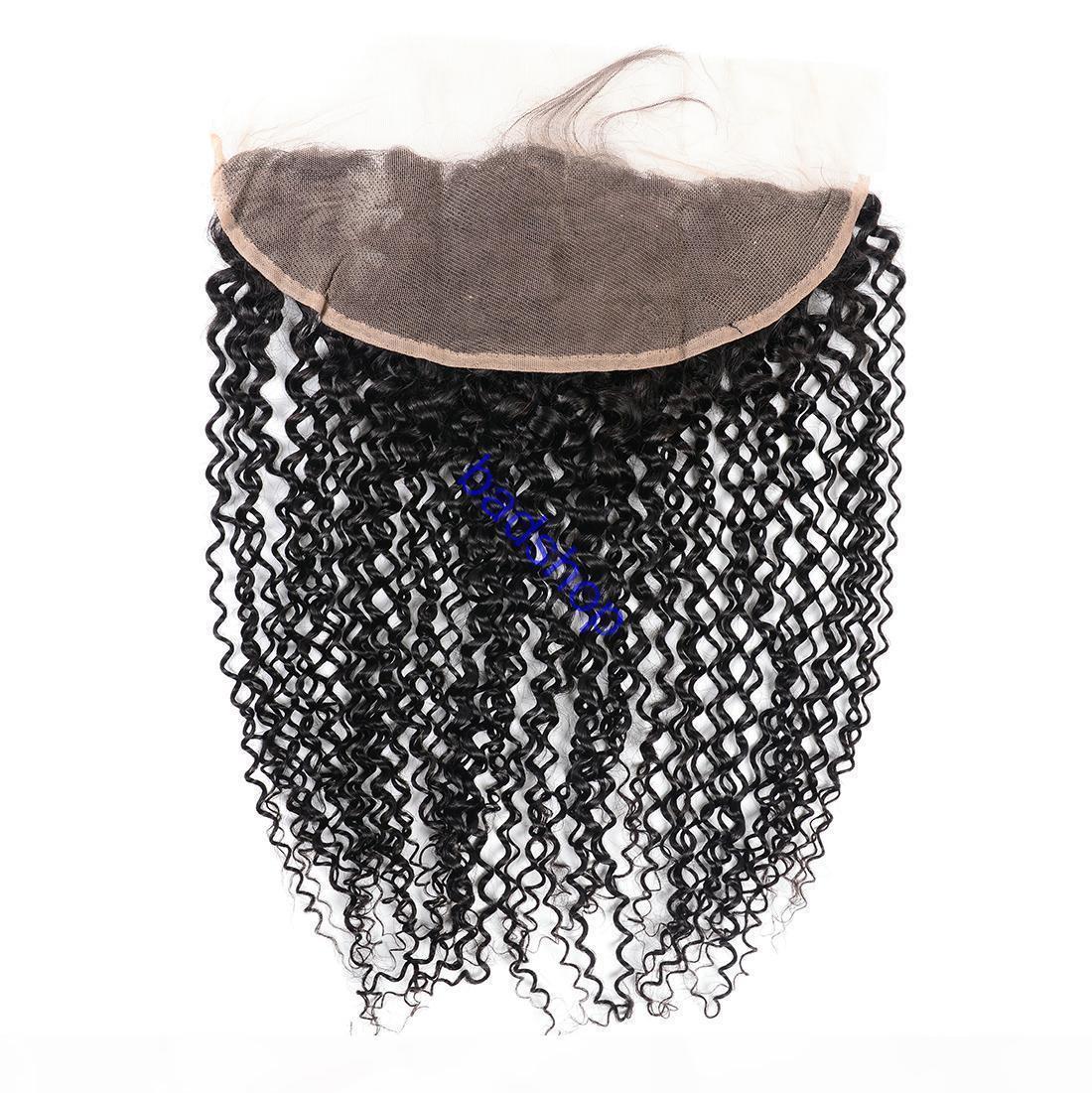 10A de dentelle Frontal fermeture Brazlian Pérou Indien Malais Mongolie cheveux crépus bouclés Wave Wave oreille à l'oreille 13x4 Dentelle Frontal Fermeture